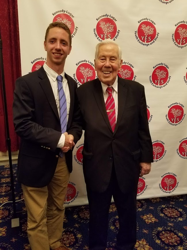 Senator Lugar with YES Abroad alumnus, Kelton.