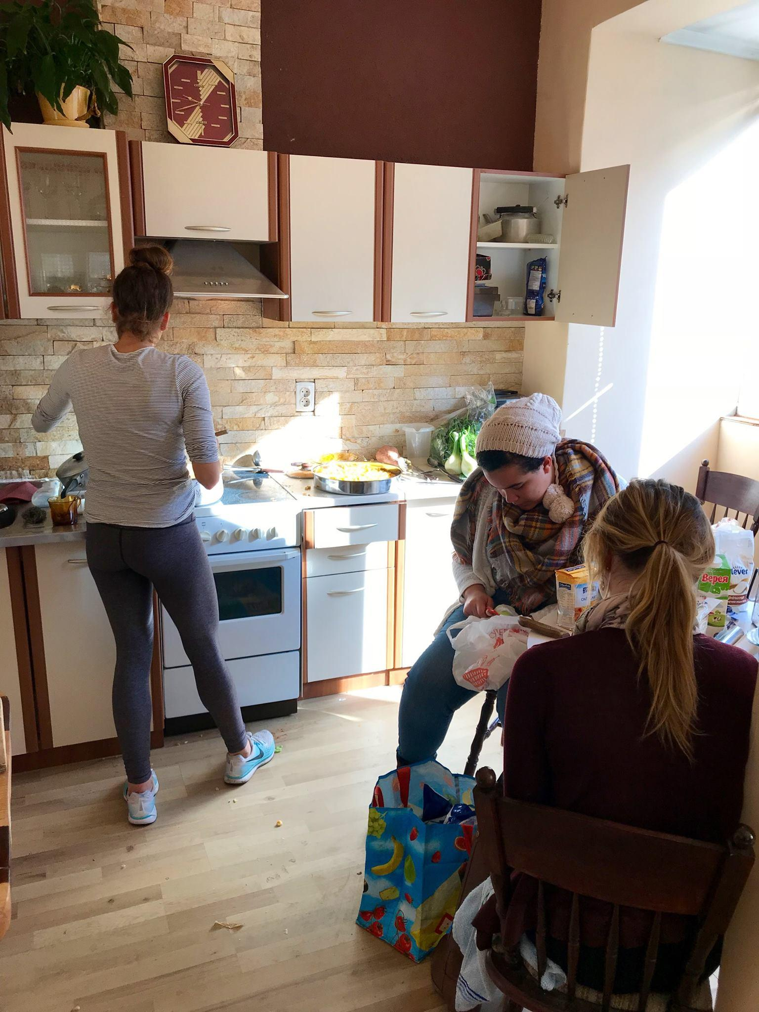 Girls Making Thanksgiving Food At Office